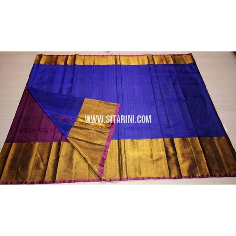 Uppada Silk Saree with Big Border-Purple and Blue-Sitarini-USRHUPS127