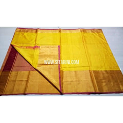 Uppada Silk Saree with Big Border-Yellow and Maroon-Sitarini-USRHUPS130