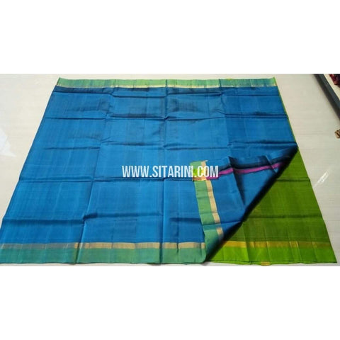 Uppada Silk Saree with Small Border-Blue and Green-Sitarini-USRHUPS117