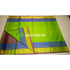 Uppada Silk Saree with Small Border-Green and Maroon-Sitarini-USRHUPS102