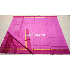 Uppada Silk Saree with Small Border-Light Pink and Dark Pink-Sitarini-USRHUPS111