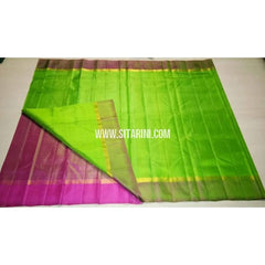 Uppada Silk Saree with Small Border-Pink and Parrot Green-Sitarini-USRHUPS116