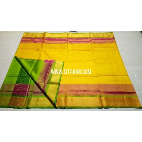 Uppada Silk Saree with Small Border-Yellow and Green-Sitarini-USRHUPS104