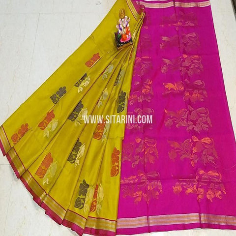 Uppada Silk Saree-Yellow-Sitarini-SITUSS334