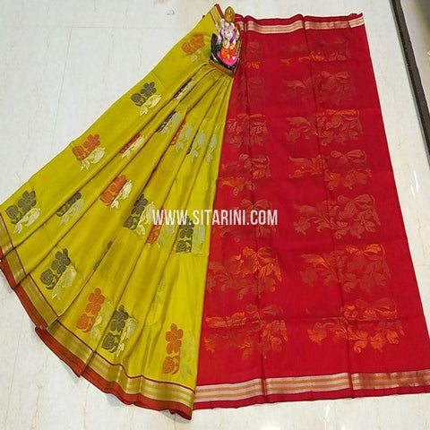 Uppada Silk Saree-Yellow-Sitarini-SITUSS338