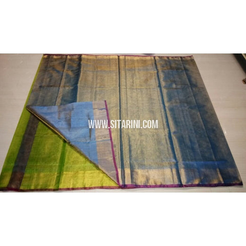 Uppada Tissue to Pattu Combination Saree with Pattu Border-Sitarini-USRHUPS193