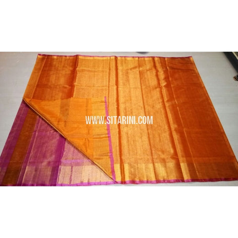 Uppada Tissue to Pattu Combination Saree with Pattu Border-Sitarini-USRHUPS196