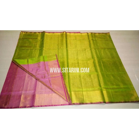 Uppada Tissue to Pattu Combination Saree with Pattu Border-Sitarini-USRHUPS198