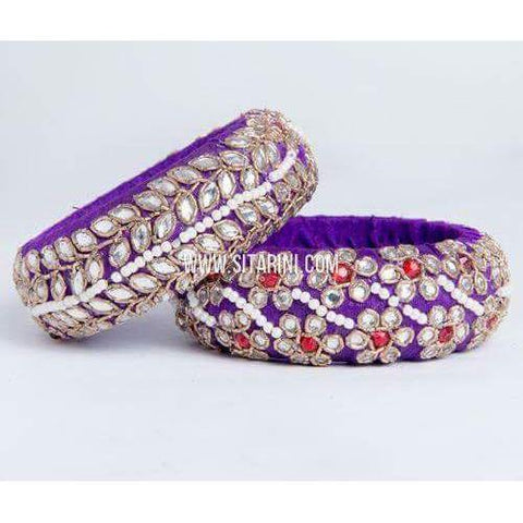 Zardosi Bangles-Purple-Broad-One Piece-Sitarini