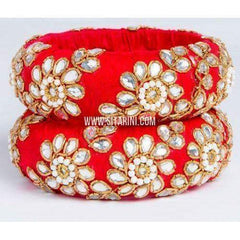 Zardosi Bangles-Red-Broad-One Piece-Sitarini