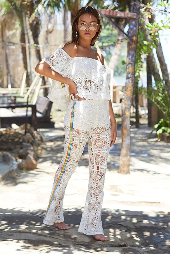 Ivory with Rainbow Taping Crochet Pants