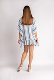 Blue Lagoon Stripe Ruffle Lace Coverup