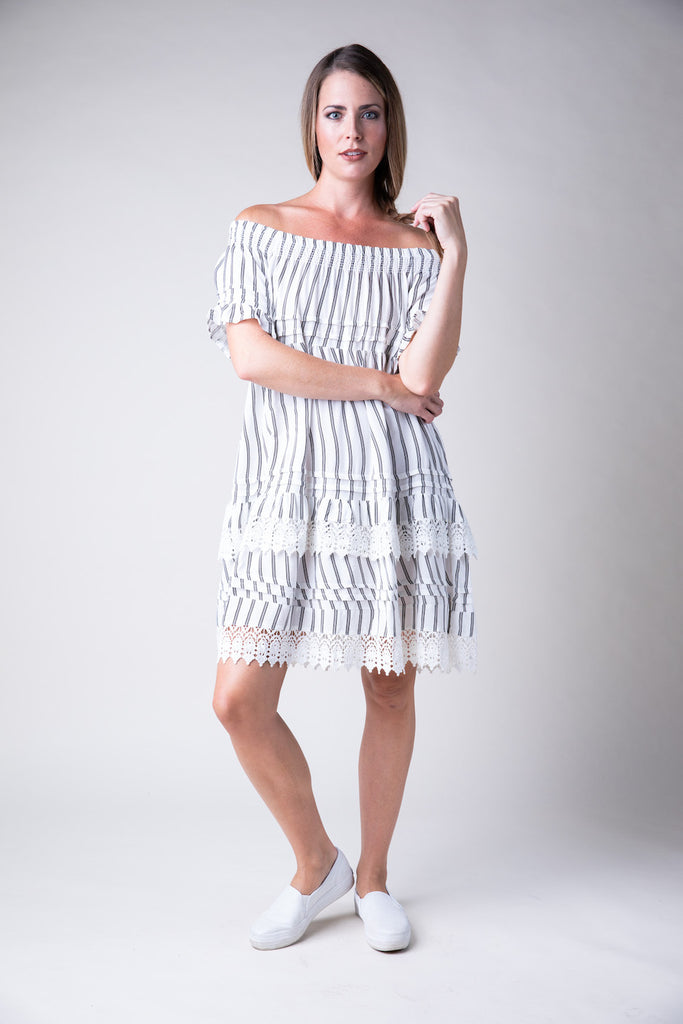 Stripe Crochet Trim Off Shoulder Dress