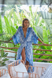 Distressed Bali Print Twist Front Duster Coverup