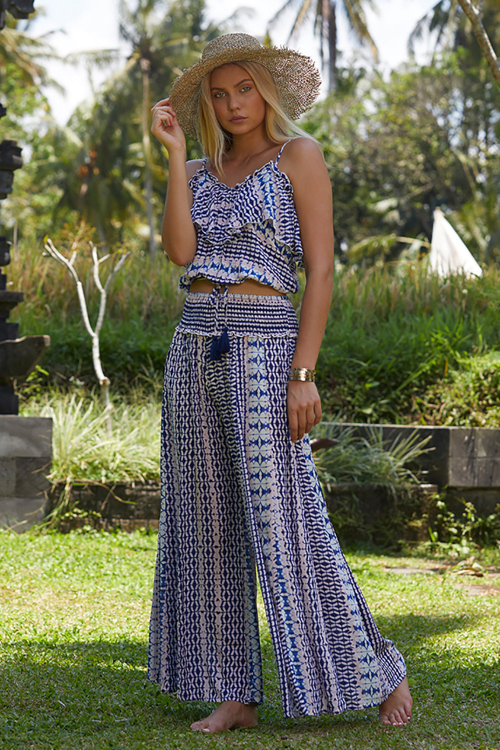 Glamour Stripe Printed Wide Leg Pants