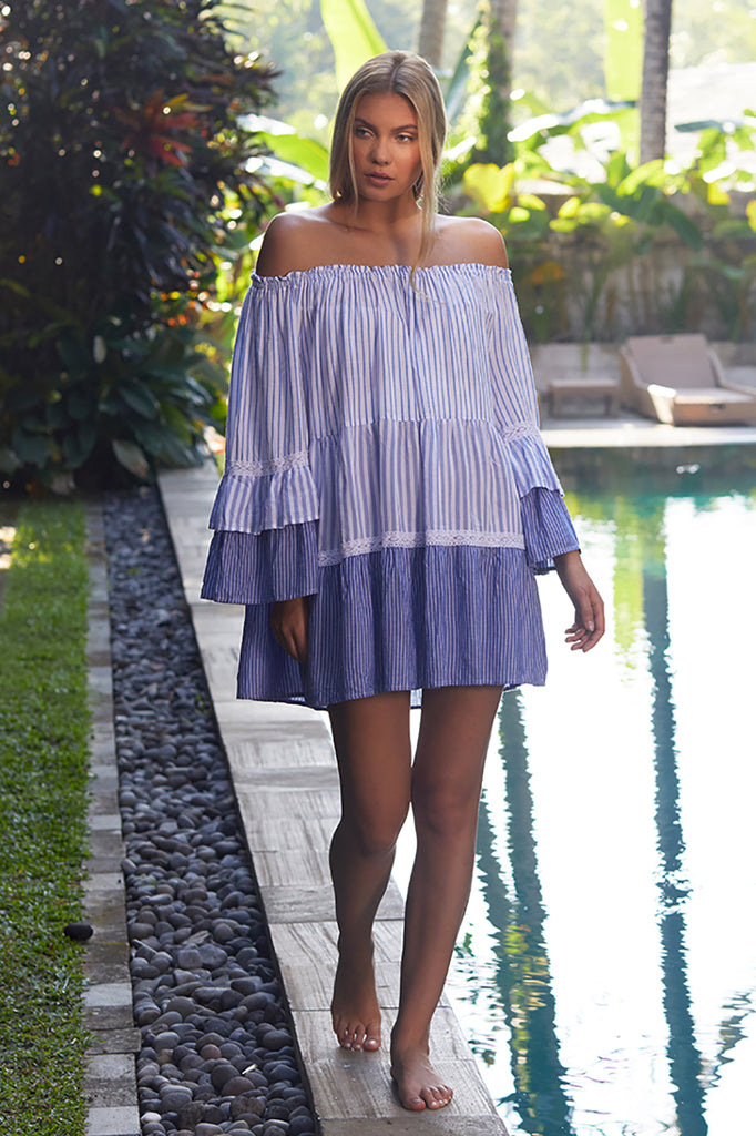 Striped Combo Off Shoulder Cover Up