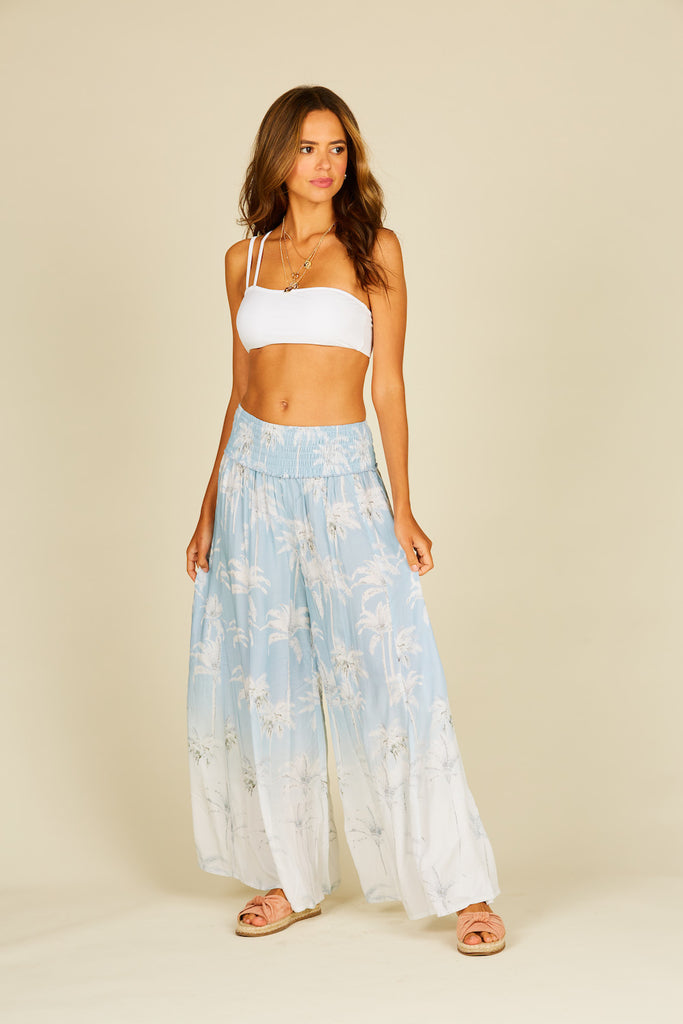 Bleached Palm Tree Wide Leg Pants
