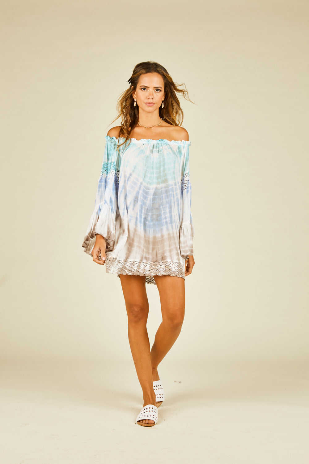 Aqua Grey Tie Dye Crochet Coverup