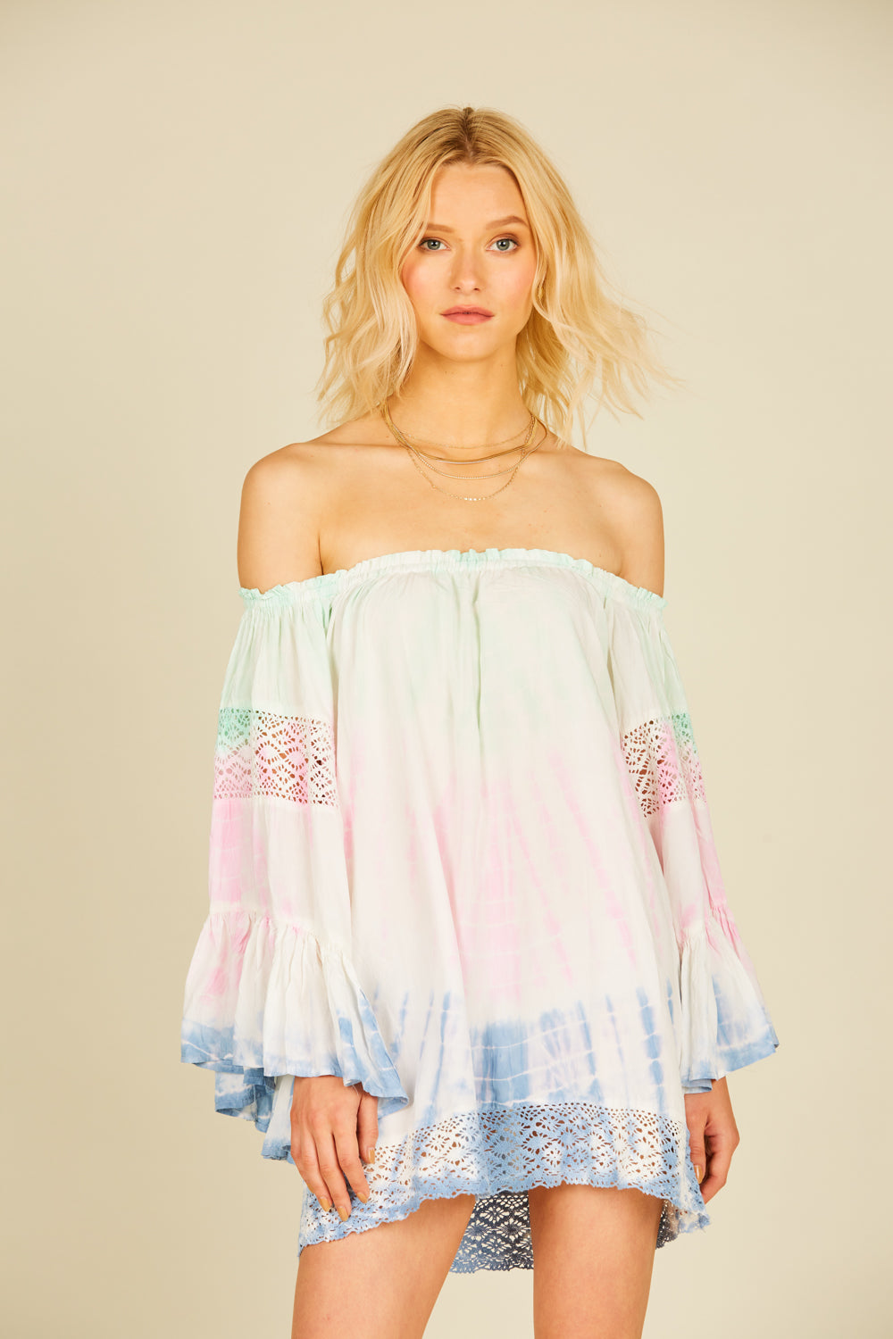 Soft Mint, Pink & Blue Tie Dye Crochet Coverup