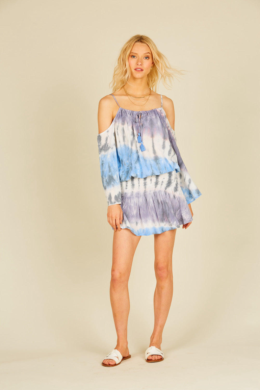 Seaside Tie Dye Cold Shoulder Dress