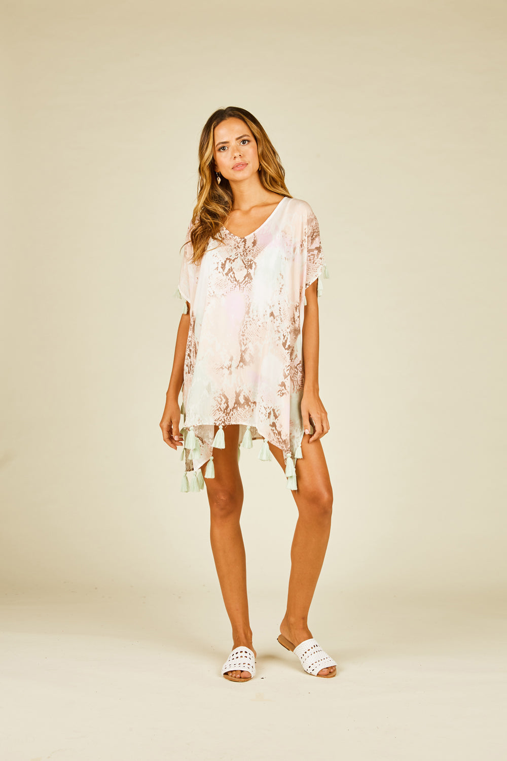 Watercolor Snakeskin Chunky Tassel Coverup