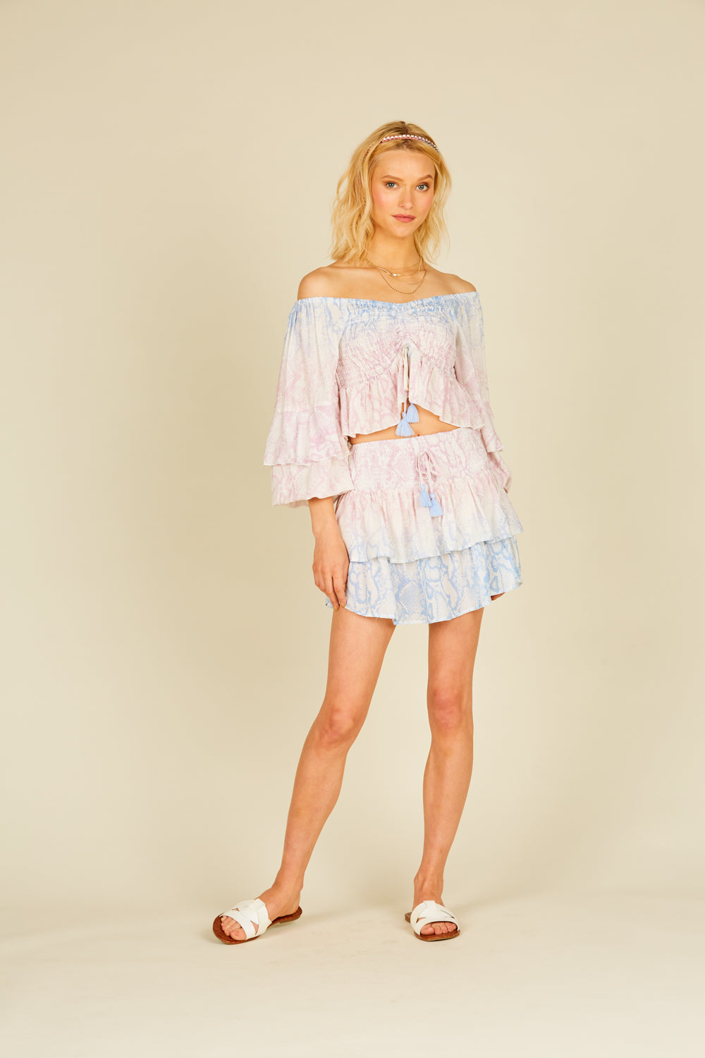 Snakeskin Ruffle Mini Skirt