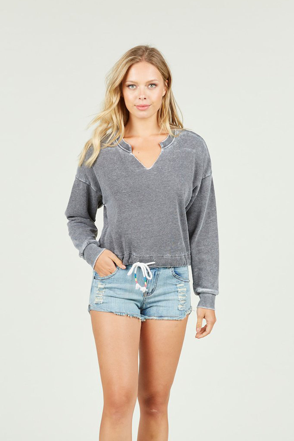 Ocean Drive x Surf Gypsy - Burnout Tie Bottom Crewneck