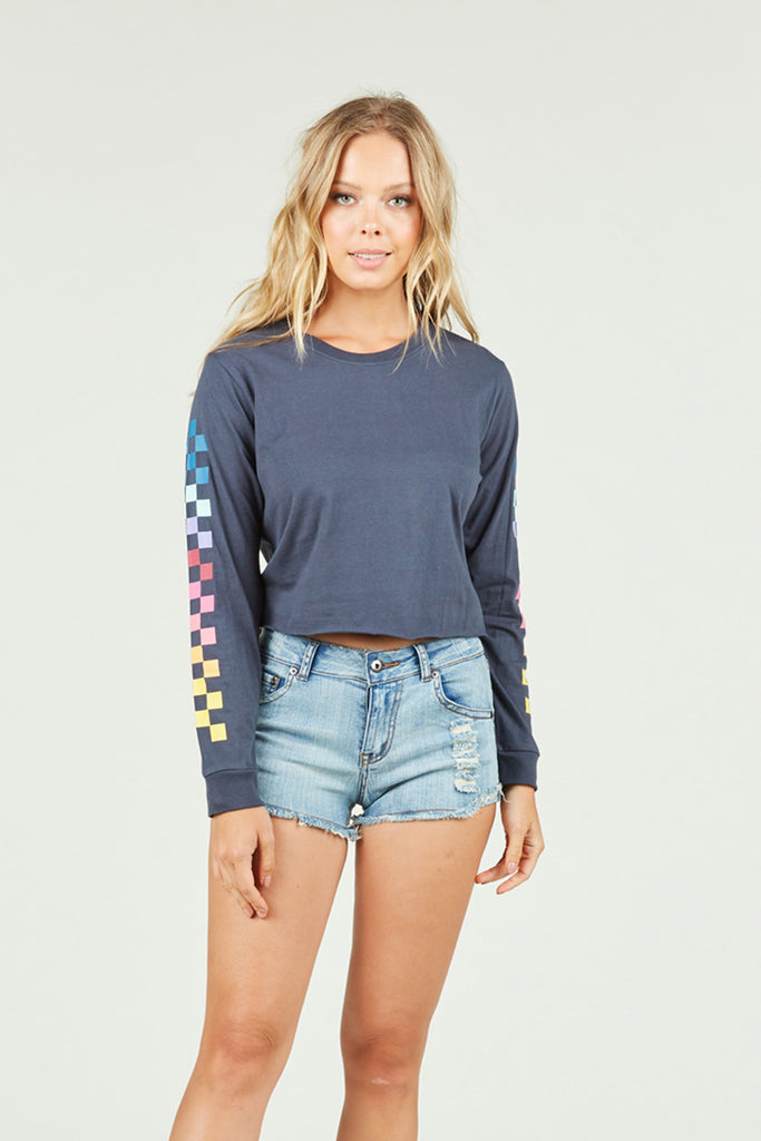 Ocean Drive x Surf Gypsy - Long Sleeve Boxy Checkered Print Tee