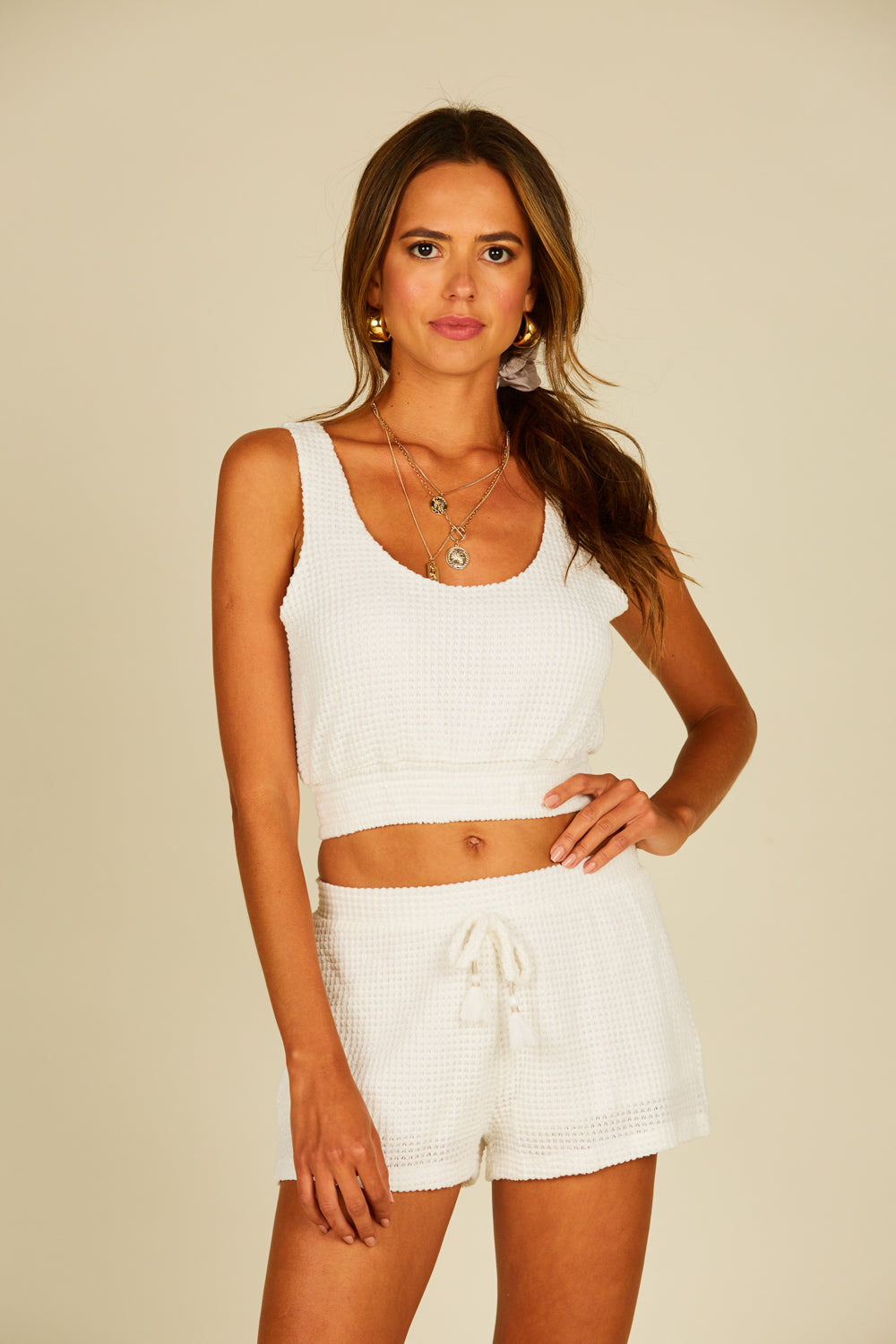 Beach White Basket Texture Crop Top