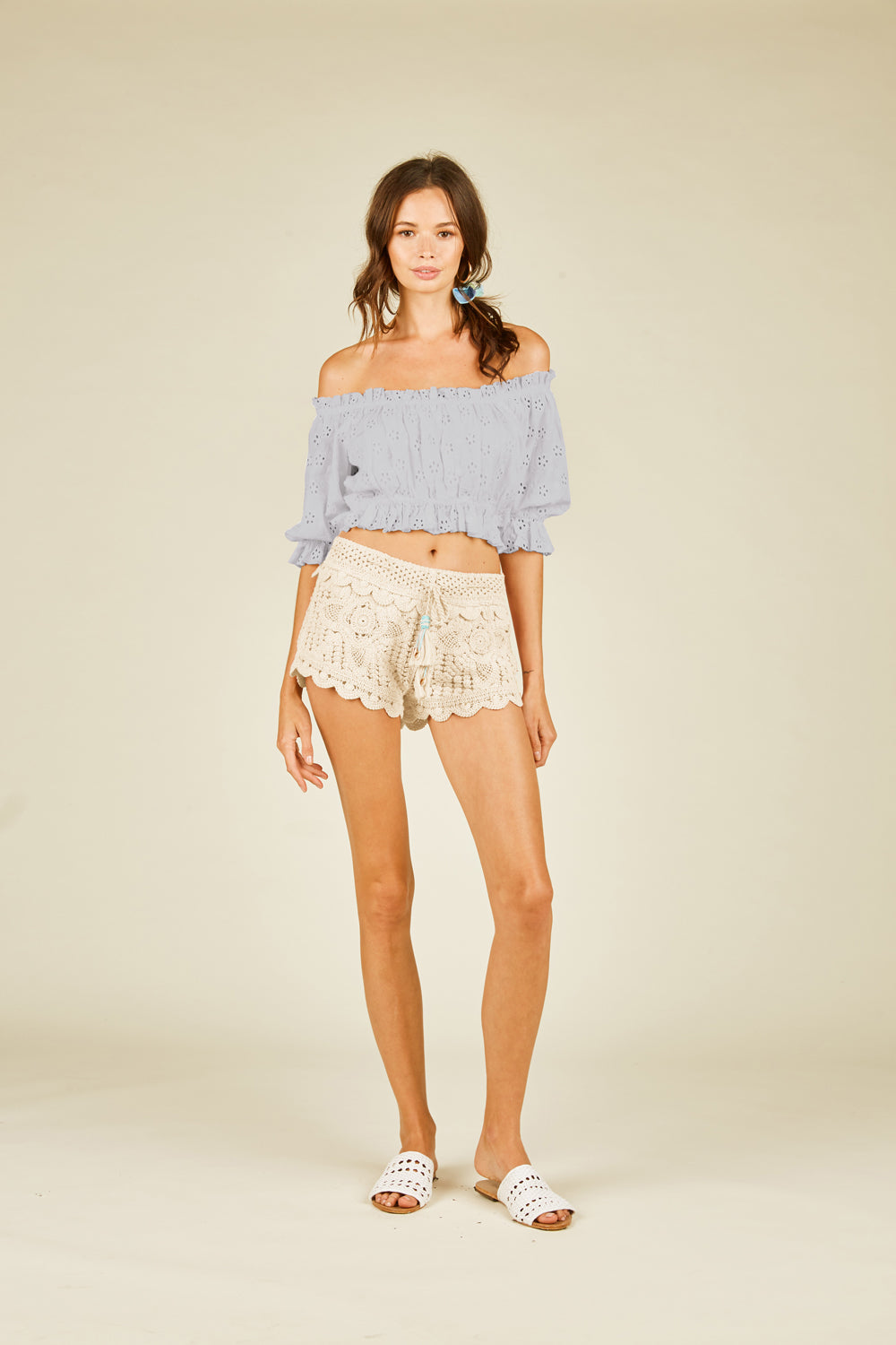 Lavender Eyelet Off Shoulder Top