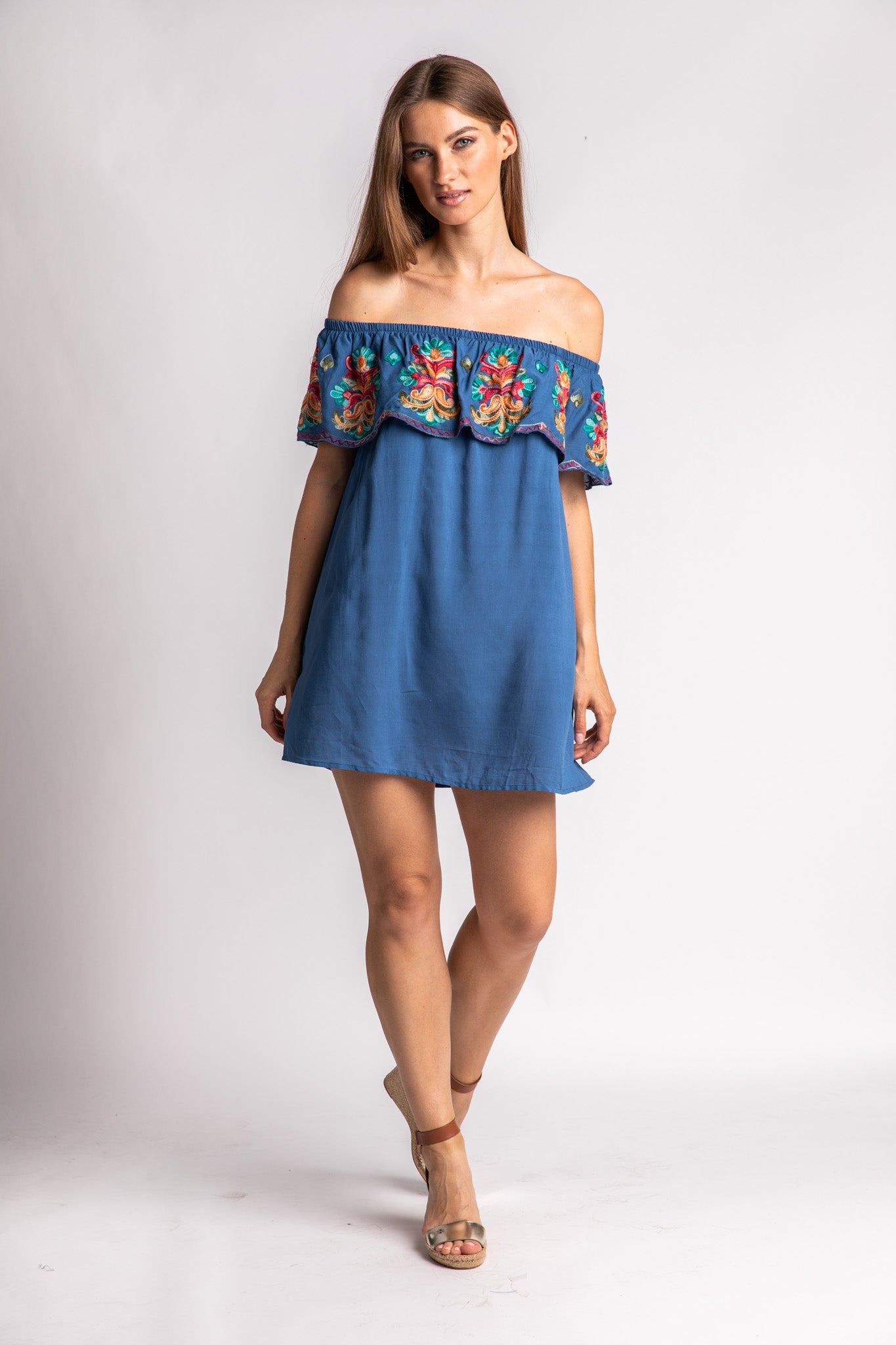 Embroidered Off Shoulder Ruffle Dress