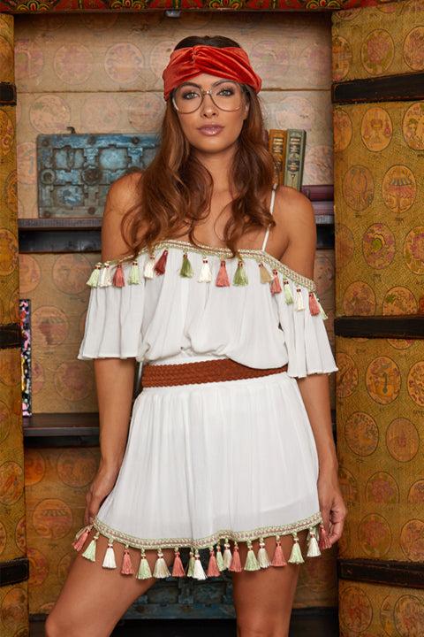 Tassel Mini Skirt in Ivory