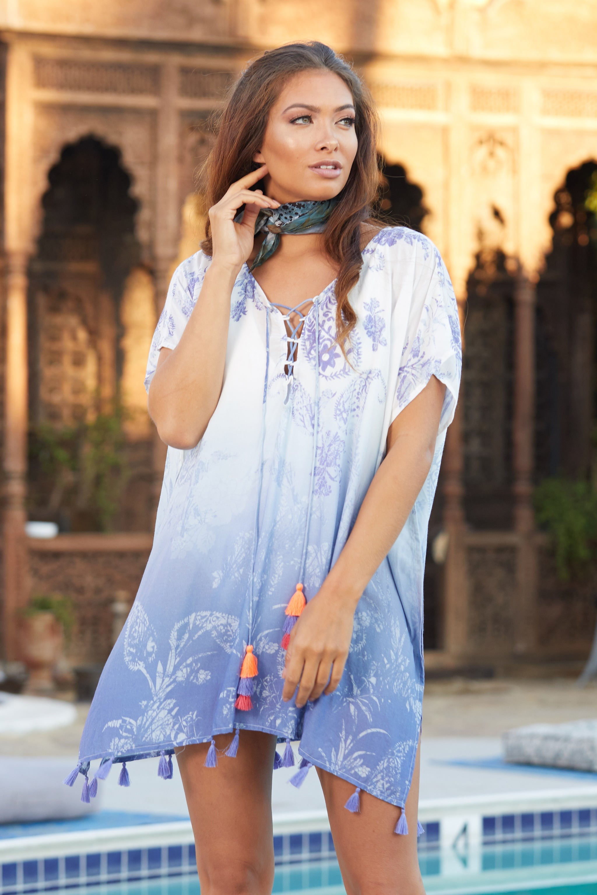 Lilac Paisley Ombre Print Multi Tassel Cover Up