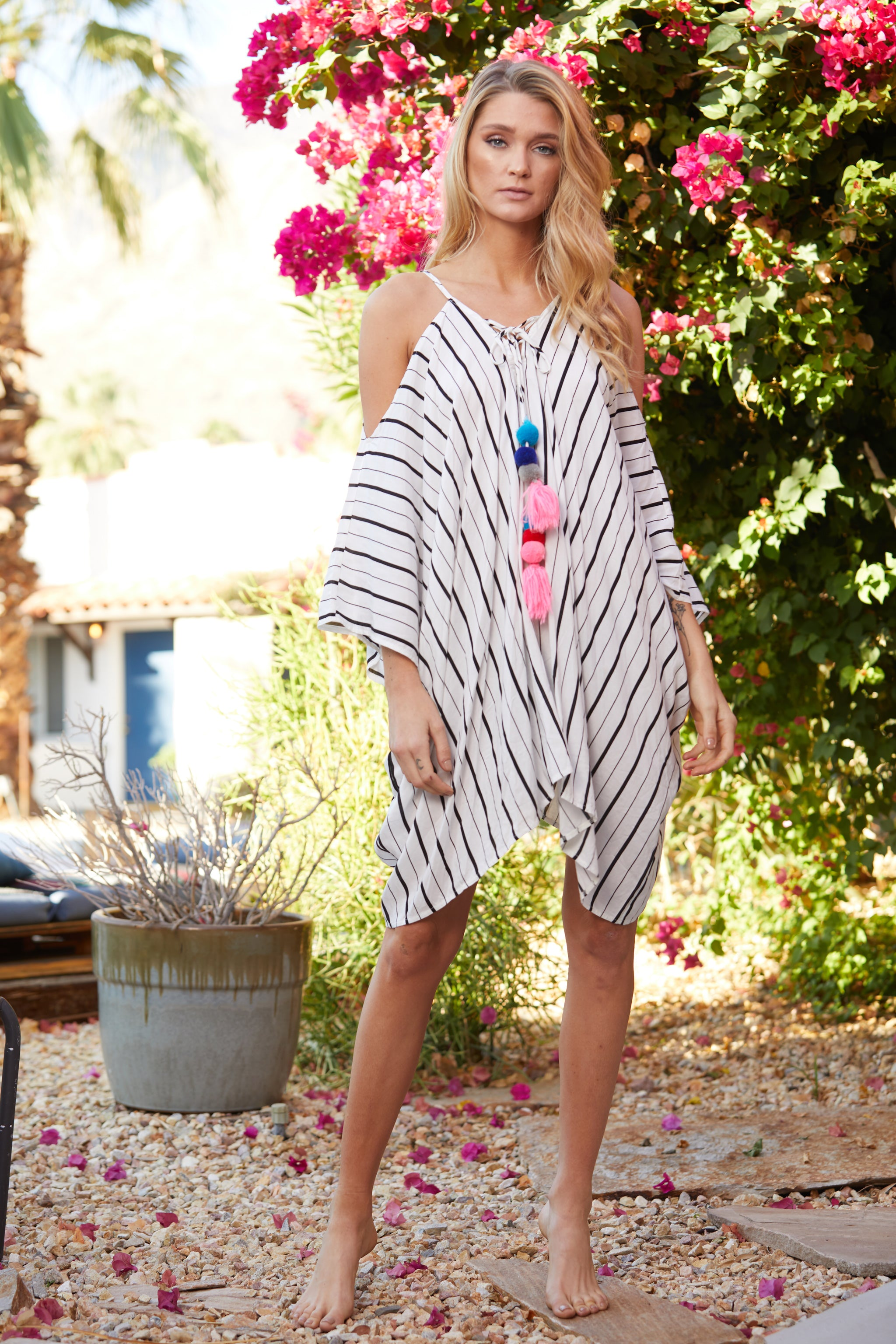 Striped Tassel Cold Shoulder Cover Up