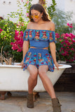 Denim Fiesta Embroidered Smock Waist Scallop Mini Skirt
