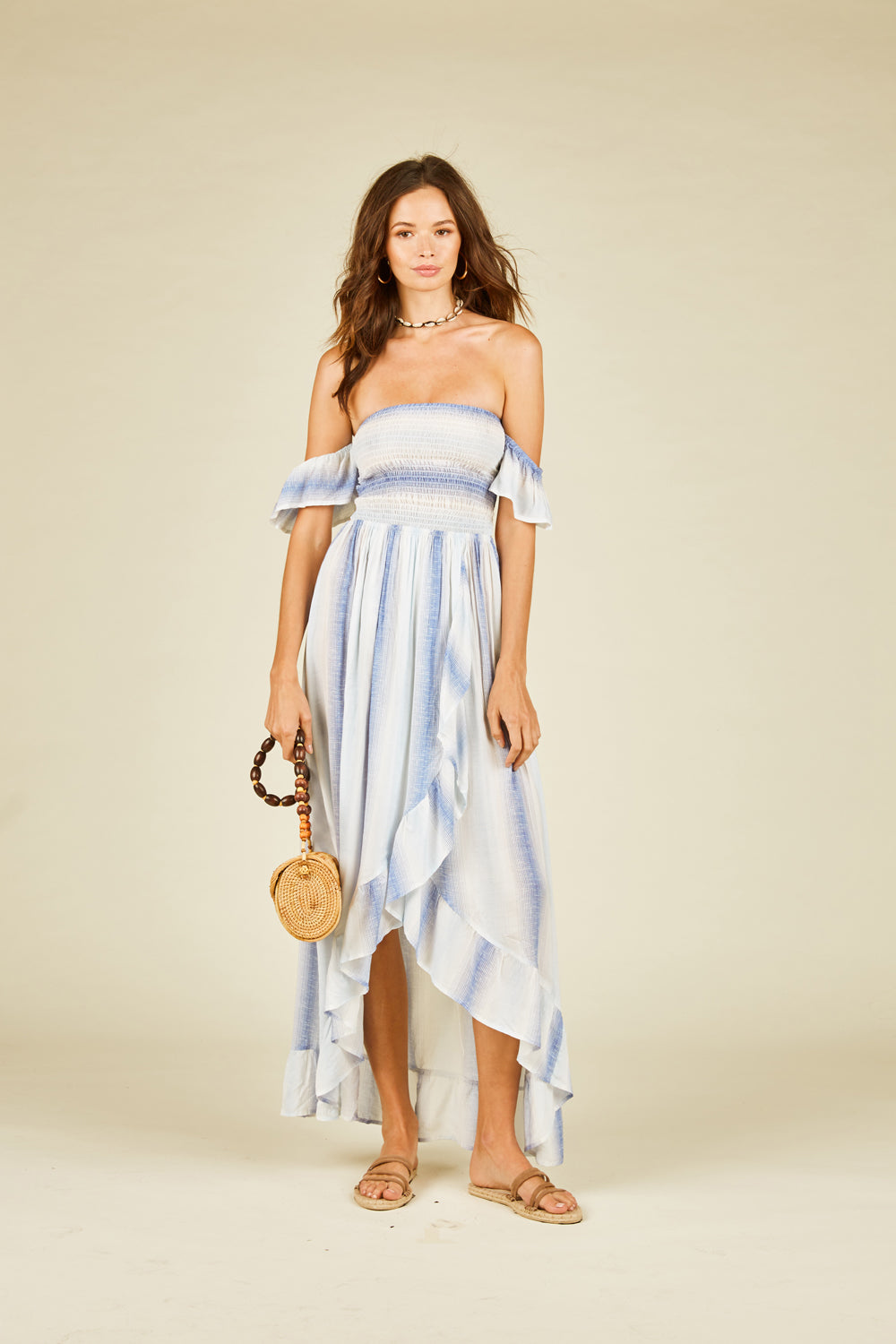 Blue Crush Off Shoulder Maxi Dress