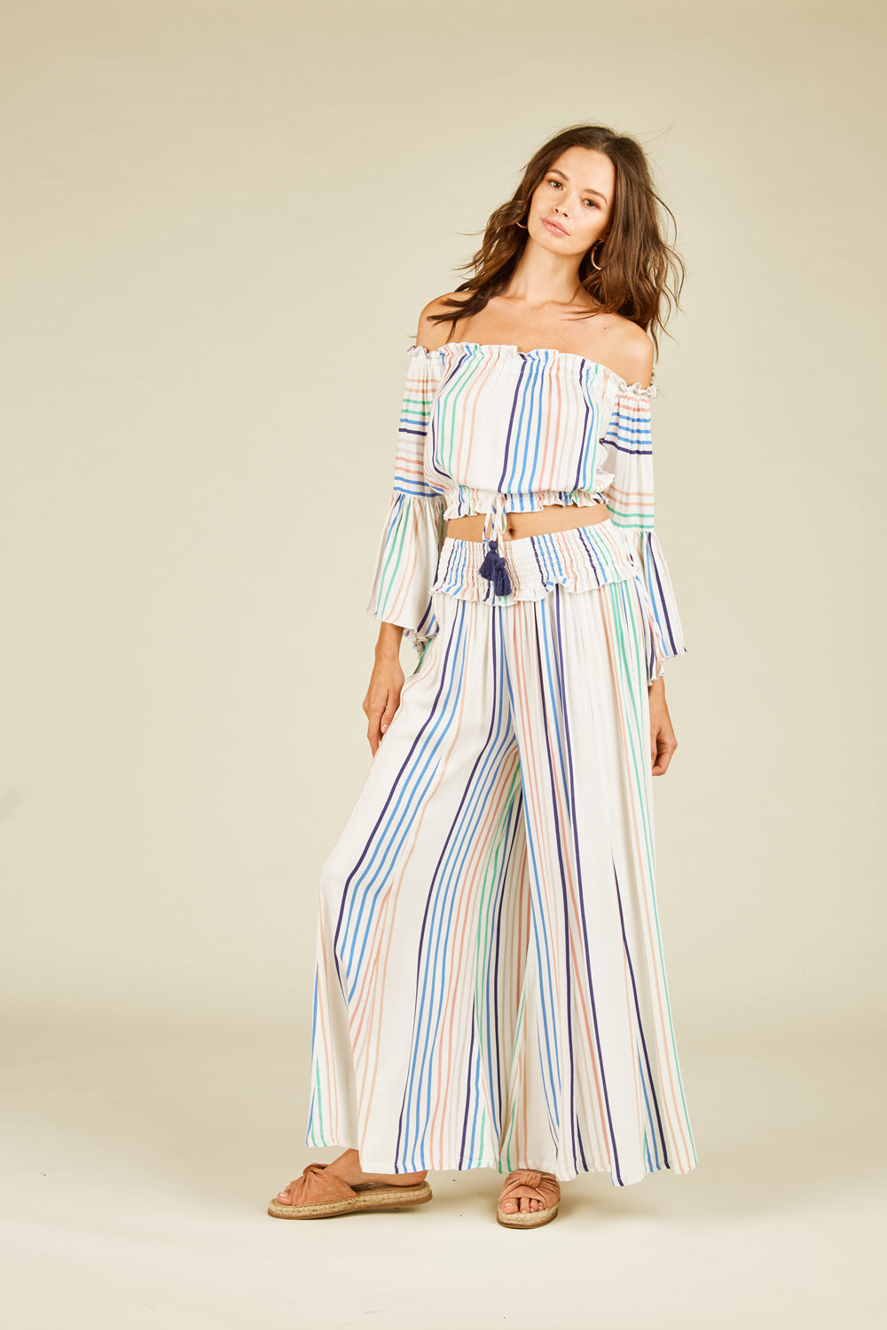 Candy Stripe Off Shoulder Top