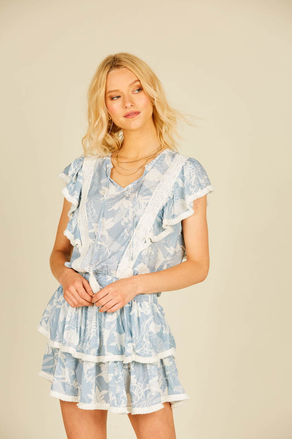 Soft Blue Tropical Crochet Trim Mini Dress
