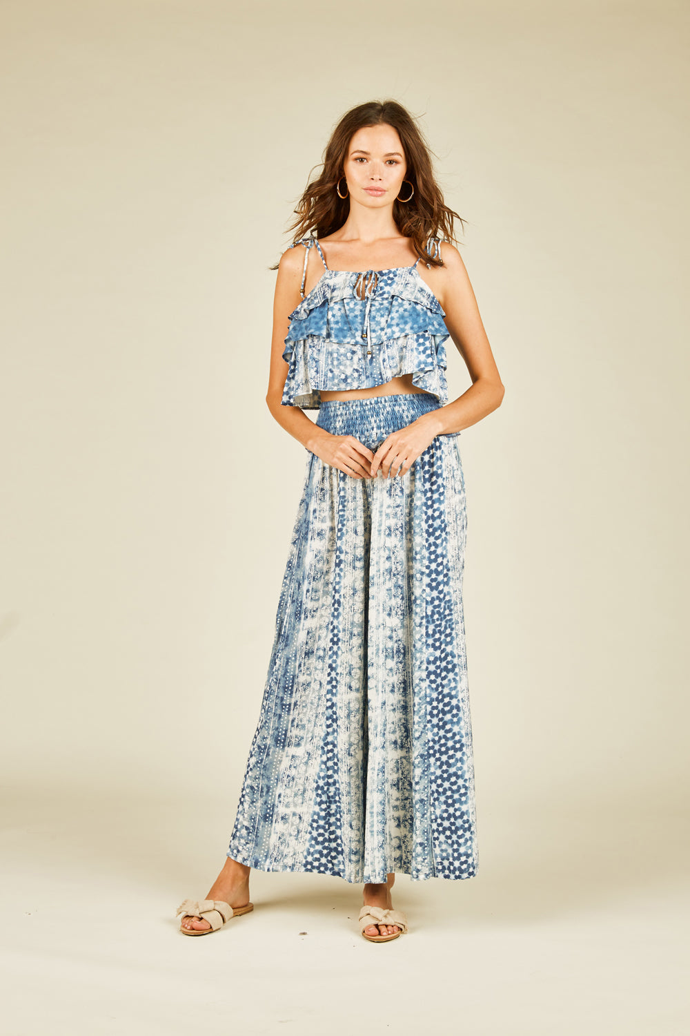 Distressed Bali Print Wide Leg Pant