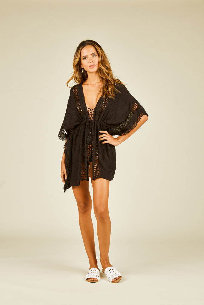Black Crochet Drawstring Coverup