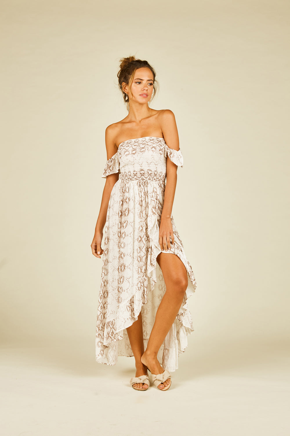 Neutral Stripy Snakeskin Maxi Dress