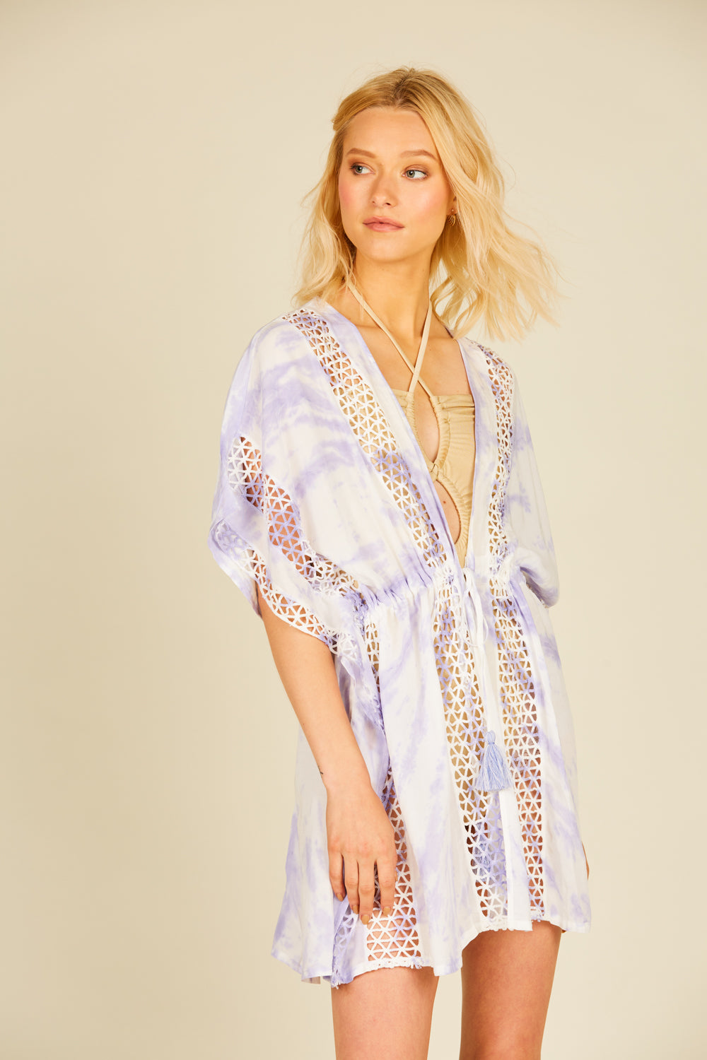 Lavender Starburst Tie Dye Embroidered Coverup