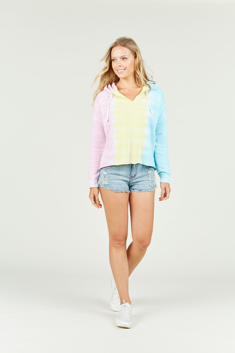 Ocean Drive x Surf Gypsy - Burnout Tri Color Tie Dye Hoody
