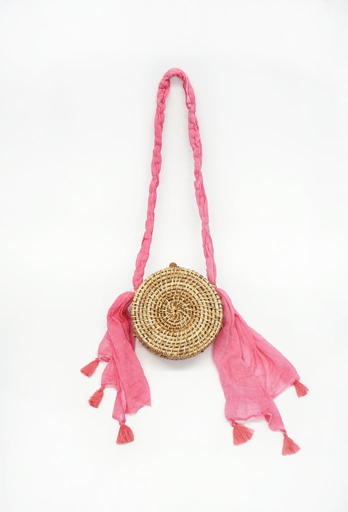 Pink Round Woven Tote
