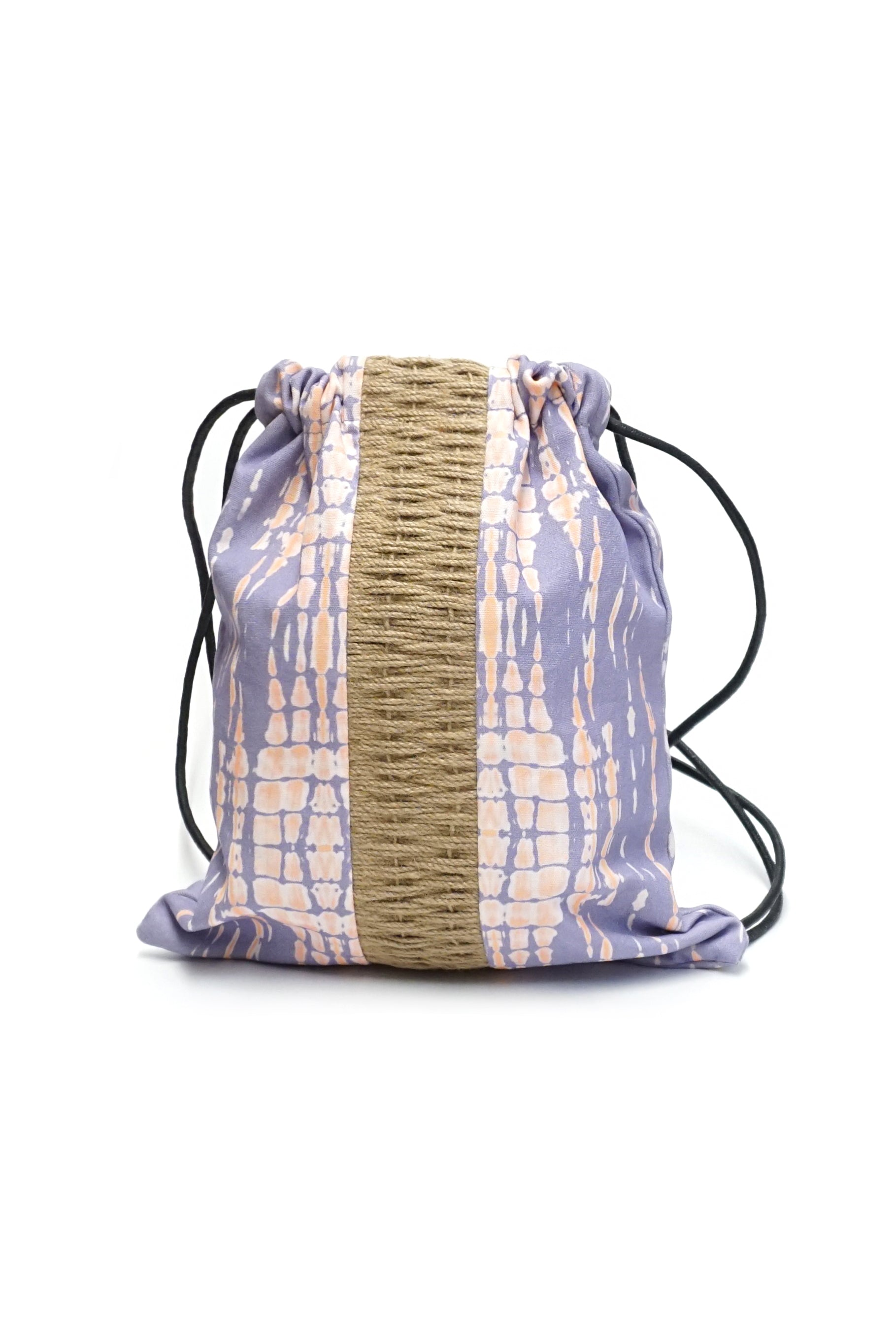2-Tone Tie Dye Jute String Backpack