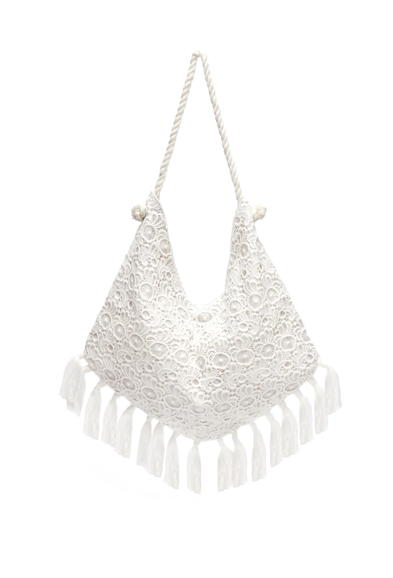 Extra Large Lace Overlay Tote with Fringes