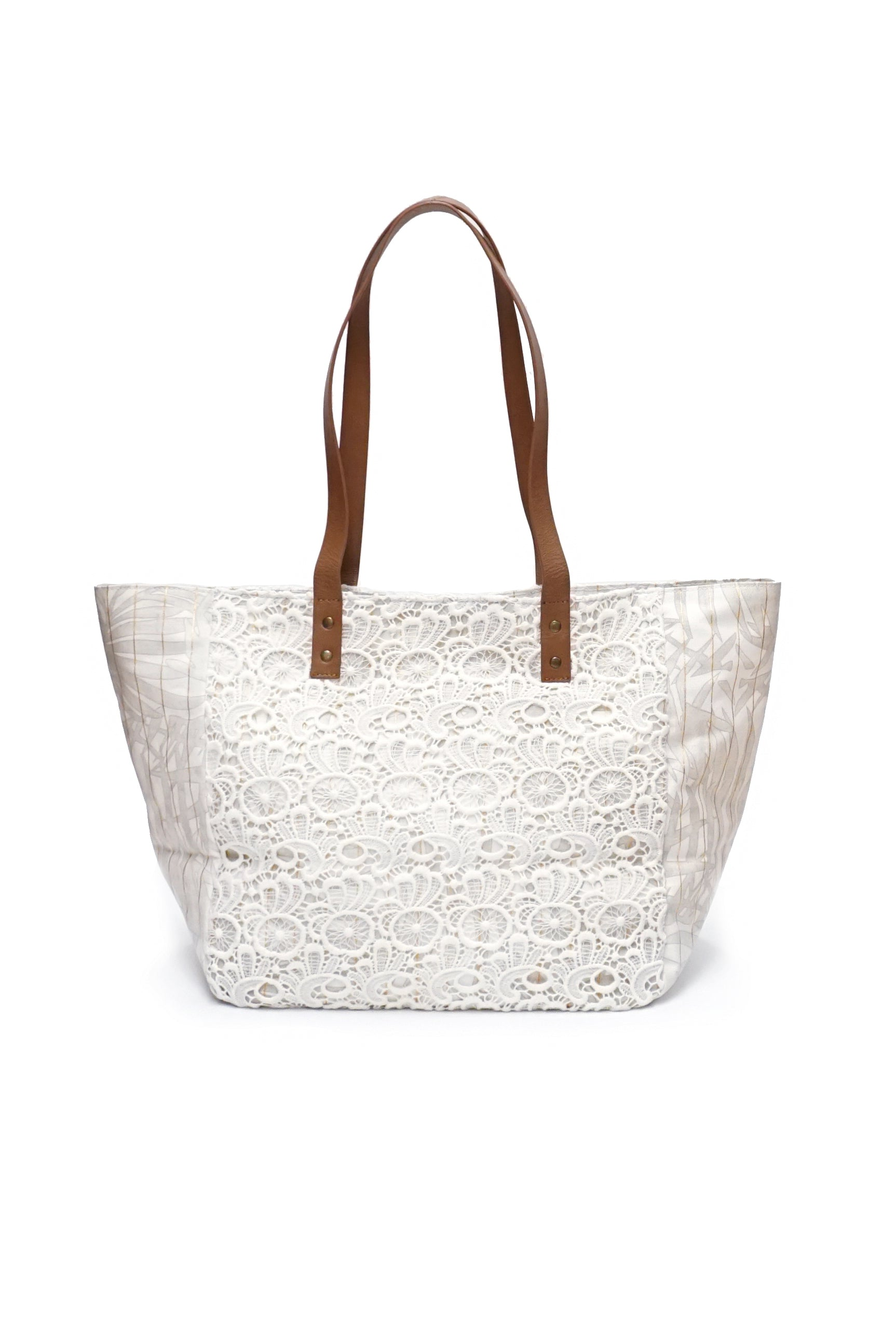 Large Lace Overlay Tote