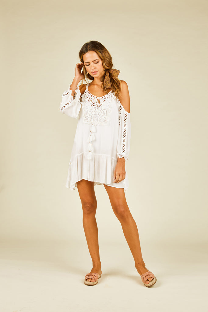 White And Gold Crochet Coverup