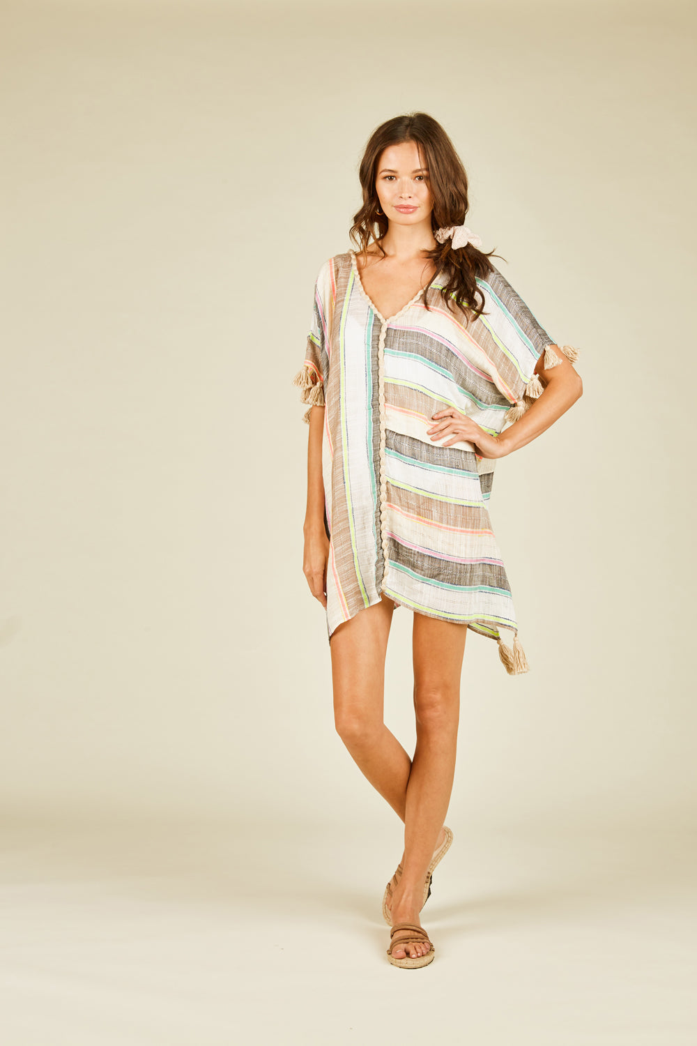 Multi Neon Stripe Coverup