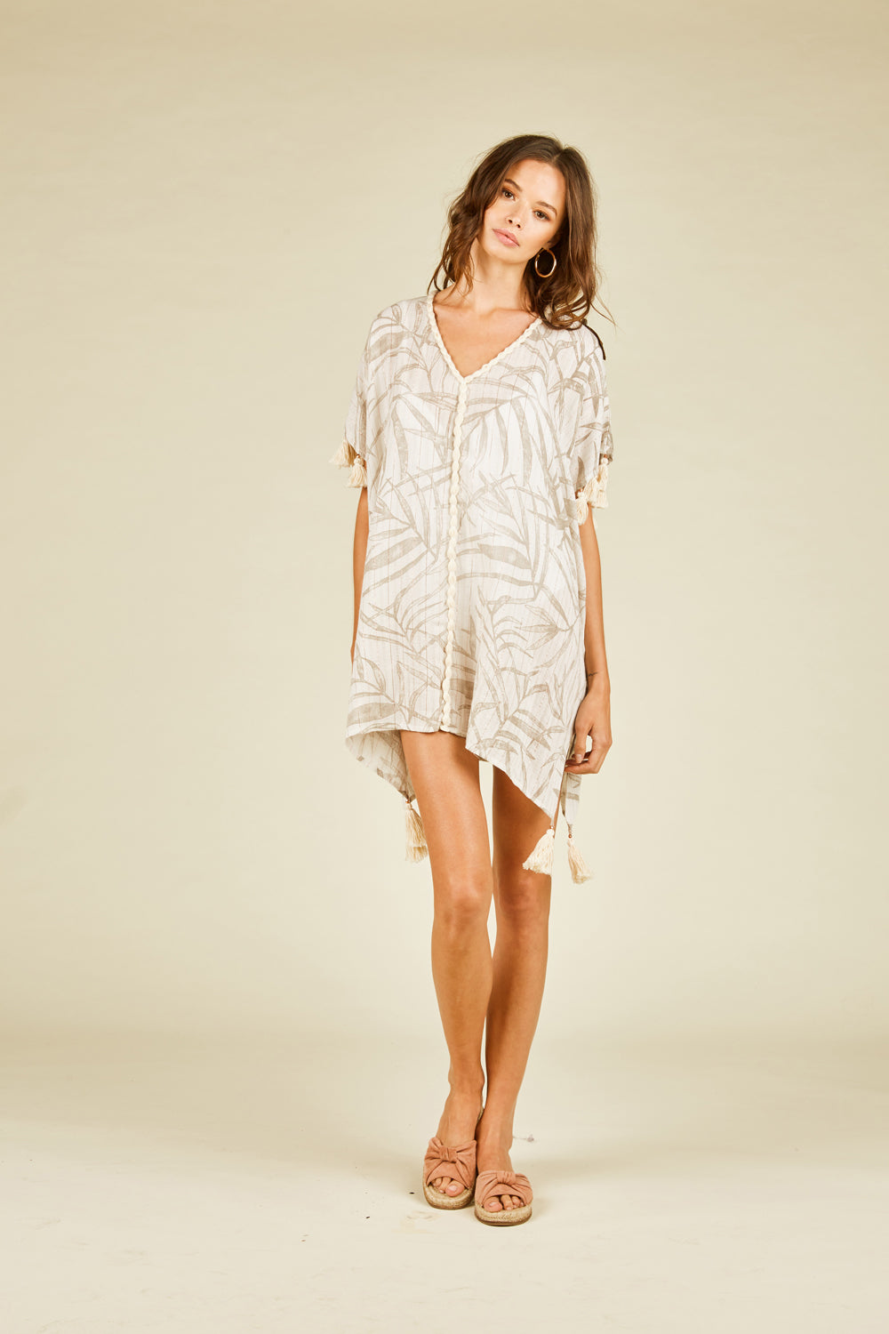 Palm Leaf Lurex Print Coverup